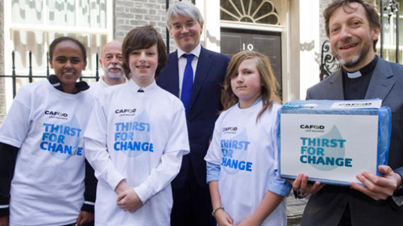 Deligation of CAFOD Supporters with Andrew Mitchell outside No.10 Downing Street