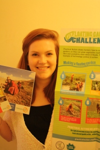 Catherine with her 'Floating Garden Challenge' poster from Practical Action