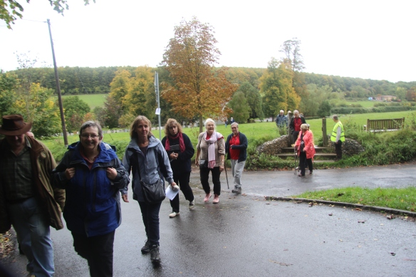 Pilgrims walking from St Mary's to the woods