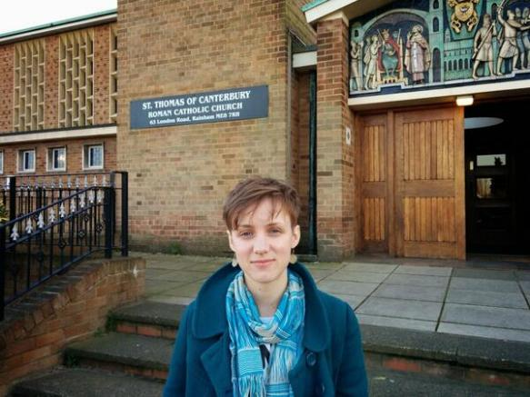 Sarah, outside St Thomas of Canterbury, ready to speak up for CAFOD.