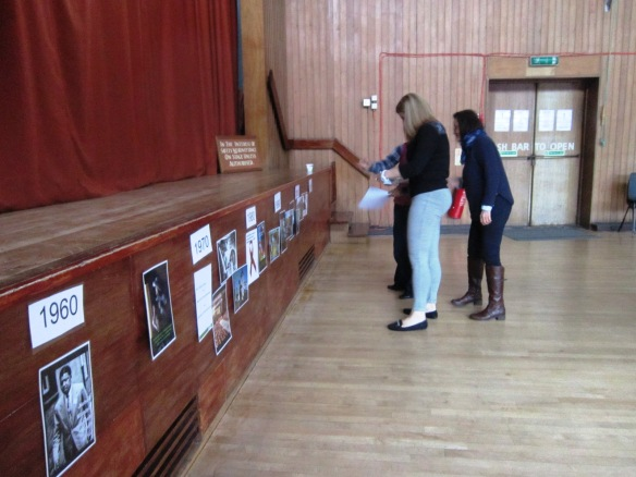 Mary , Aurea and Valerie working out the CAFOD story timeline