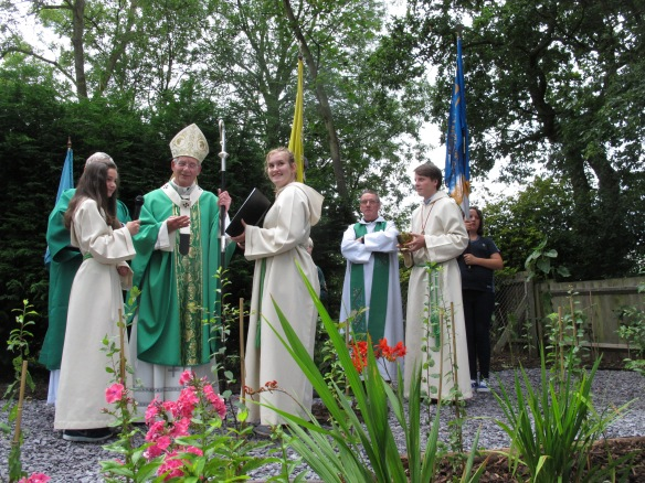Archbishop Peter Smith blesses the garden