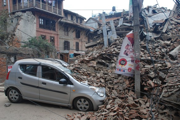 Collapsed buildings in Swatha Square, Patan (one of the 3 districts of Kathmandu)