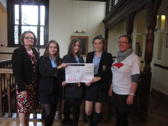 Bishop Challoner cake sale cheque
