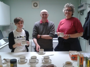 Pictured right to left - Julie Cox, Michael Brown (a fellow CAFOD Volunteer and live simply group member) with Sarah Cadwallader (CAFOD Diocesan Officer).