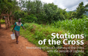 A girl in Uganda carrying water. Illustration for CAFOD Lent resources on the stations of the cross 2016