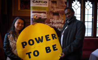 Thomas Kimaru and Fiona in Parliament for Power to Be campaign