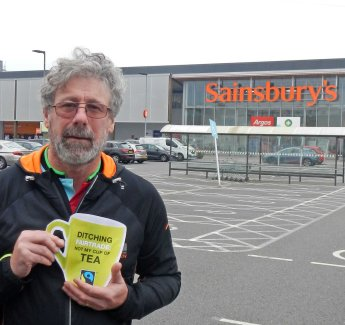 Andy campaigning for Fairtrade with CAFOD