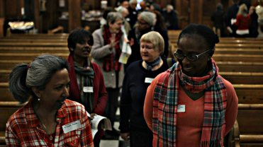 Share the Journey walk in St Mary Moorfields in London. Each CAFOD volunteer only walked around the church 3 times, so about half a mile, but altogether they walked 29 miles
