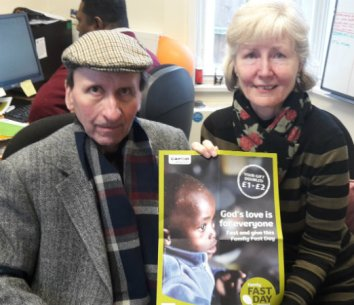 Angela and Colin Dowling, whose help made Lent Family Fast Day such a success, have both been temporary office volunteer at CAFOD Southwark in Shortlands