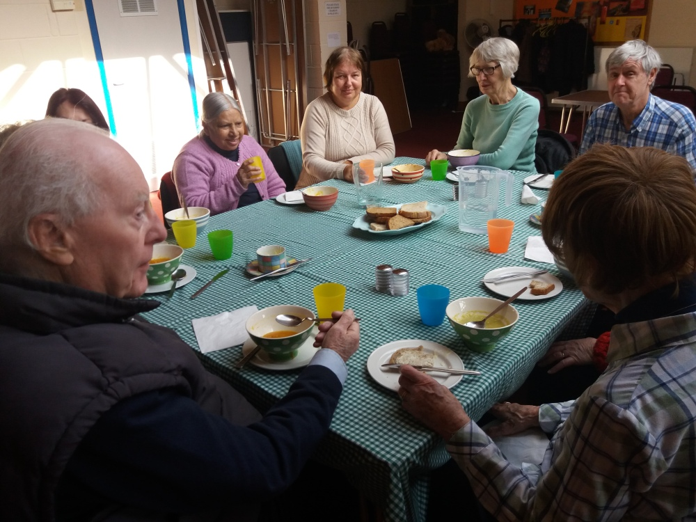 Parishioners enjoying the soup at St. Augustine's
