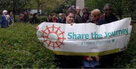 CAFOD Volunteers walked 23 Miles in solidarity with Refugees in the Imperial war Museum gardens.
