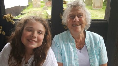 Annabelle and Rita enjoy their break during the Share the journey walk in Hartley