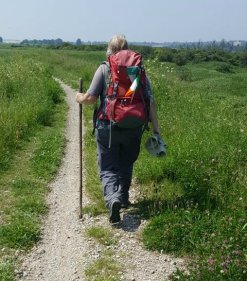 Ann Milner walking on the LOOP to add her miles to CAFOD Share the Journey walk around the world in solidarity with refugees.