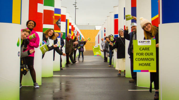 CAFOD Campaigners at climate talks in Paris 2015