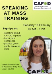 Speaking at Mass training poster on 16 Feb 2019 in Romero House