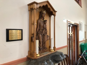 Statue of Our Lady of Merton, using Reigate stone from the outer walls of Merton Abbey (photo credit: CAFOD)