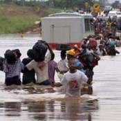 Cyclone Idai victims navigating through floods