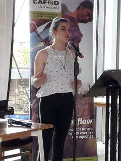 Nicole Gillespie sharing with CAFOD volunteers her experience in Uganda during her GAP year