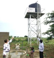Christine Allen sees the water tower built by CAFOD